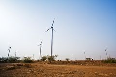 Wind turbines, Jaisalmer, Rajasthan, India Stock Photography
