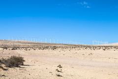 Wind Turbines in Jandia, Fuerteventura. Wind turbines in the desert of Jandia in Fuerteventura, Spain Royalty Free Stock Image