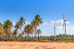 Wind turbines in the jungles of Sri Lanka. Alternative Renewable Energy Sources Stock Photo