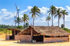 Wind turbines in the jungles of Sri Lanka. Alternative Renewable Energy Sources Stock Photos