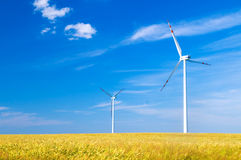 Wind turbines landscape Stock Images