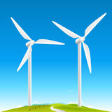 Wind Turbines Landscape. On fields. Vector illustration Royalty Free Stock Photo