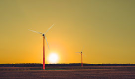 Wind turbines landscape royalty free stock images