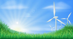 Wind turbines landscape illustration Stock Image