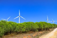 Wind turbines landscape stock photos