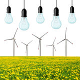 Wind turbines with light bulb Stock Photos