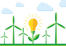 Wind turbines and light bulb icon -  illustration. Royalty Free Stock Images