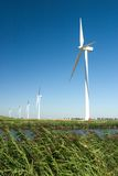 Wind turbines lined up Royalty Free Stock Images