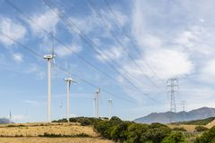 Wind turbines Los Llanos windfarm Spain royalty free stock photography