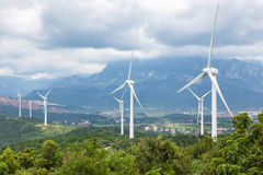 Wind turbines in lushan. Wind farm at the foot of lushan mountain, China Royalty Free Stock Image