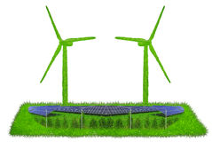Wind turbines  made out of grass with solar panels Royalty Free Stock Photos