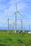 Wind turbines. Wind turbines make clean electricity in the mountains of Kazakhstan Stock Photography