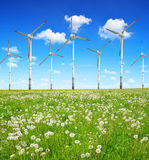 Wind turbines on meadow Royalty Free Stock Image