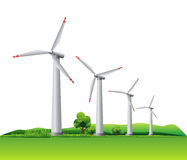 Wind turbines on a meadow. Four wind turbines on a meadow. This illustration is EPS10 vector file, objects are in separate layers Royalty Free Stock Image