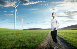 Wind turbines on a meadow Stock Photo