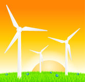 Wind turbines on meadow Stock Photography