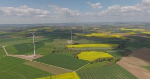 Wind Turbines in the Middle of Rapeseed Field