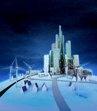 Wind turbines with modern city at night Royalty Free Stock Photos