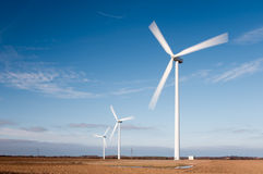 Wind turbines with motion blur Stock Image