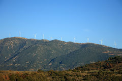 Wind turbines on the mountain Royalty Free Stock Photo