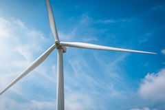 Wind turbines on mountain with blue sky royalty free stock images