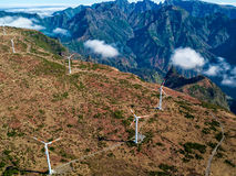 Wind Turbines on the Mountain Madeira Island Royalty Free Stock Photo
