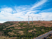 Wind Turbines on the Mountain Madeira Island Stock Images
