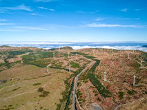 Wind Turbines on the Mountain Madeira Island Royalty Free Stock Photography