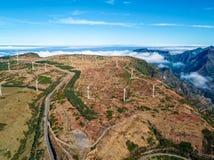 Wind Turbines on the Mountain Madeira Island Royalty Free Stock Image