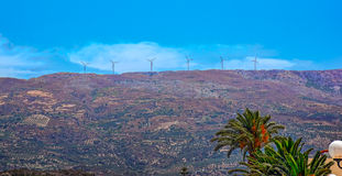Wind turbines on mountain top Stock Images