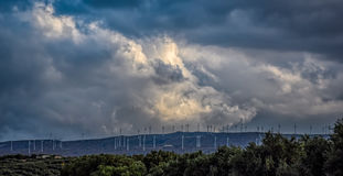 Wind turbines on mountain top Royalty Free Stock Photography