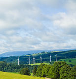 Wind turbines in mountains Stock Photos