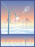 Wind turbines in the mountains Stock Photography