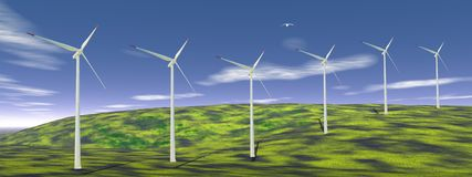 Wind turbines in nature Stock Image