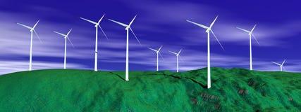 Wind turbines in nature Stock Photo