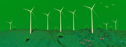 Wind turbines in nature Royalty Free Stock Photos