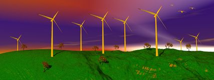 Wind turbines in nature Stock Images