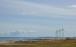 Wind turbines in nature of Denmark. Wind turbines in Fredrikshavn beach in Denmark Stock Photography