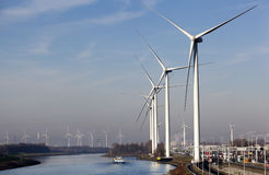 Wind turbines near canal in Rotterdam Stock Image