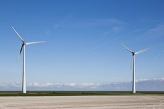 Wind Turbines Near The Dike Along The Dutch Waddenzee Stock Photo