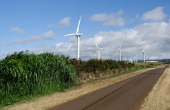 Wind turbines near Upolu Point, Big Island, Hawaii Stock Photo