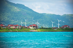 Wind turbines near Victoria town, Seychelles Royalty Free Stock Photography