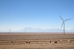 Wind turbines next to the road, Calama, Chile Stock Photography