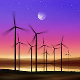 Wind turbines at night vector illustration
