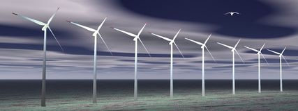 Wind turbines by night Royalty Free Stock Images