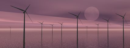 Wind turbines by night Stock Image