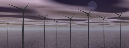 Wind turbines by night Royalty Free Stock Photography
