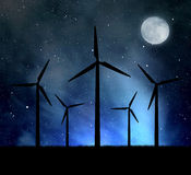 Wind turbines. In the night sky Stock Images