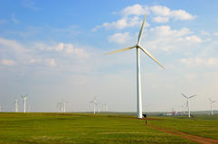 Wind turbines in north china Stock Photo