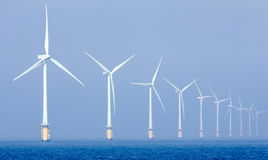 Wind turbines in the northern sea, offshore Royalty Free Stock Images